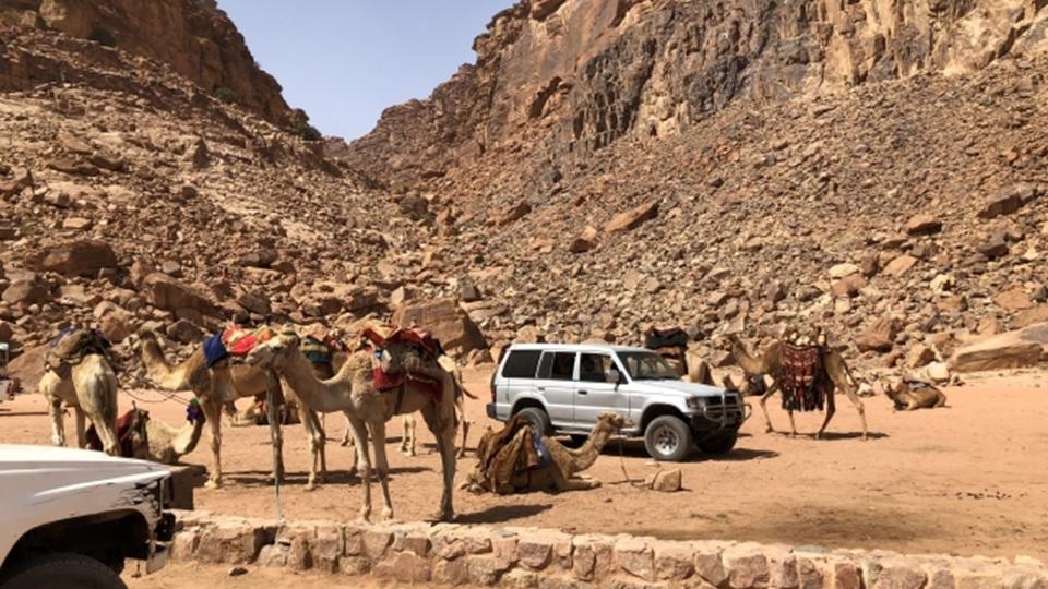 砂漠のなかのジープラングラー